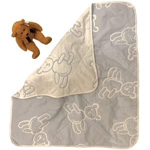 sdh teddy bear baby blanket in blue