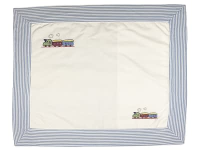 Embroidered Baby Pillow Shams - Blue Trains