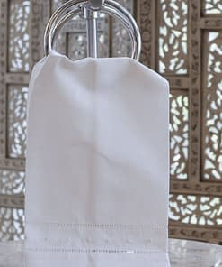 guest towel with embroidered polka dots on ivory linen blend