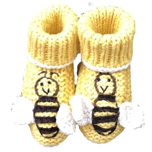 art walk knit booties bees