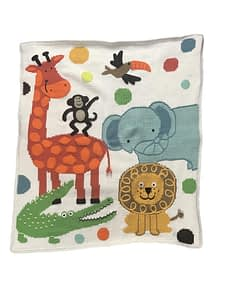 artwalk jungle party hand-knit baby blanket 1507i