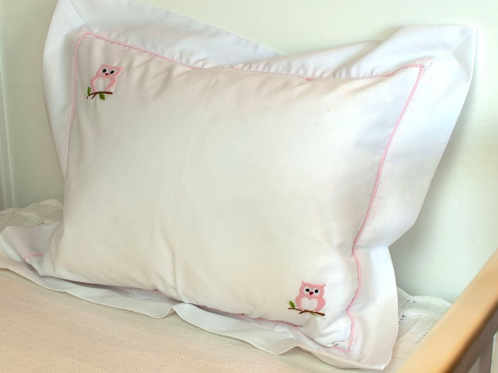 baby pillows and shams pink owls