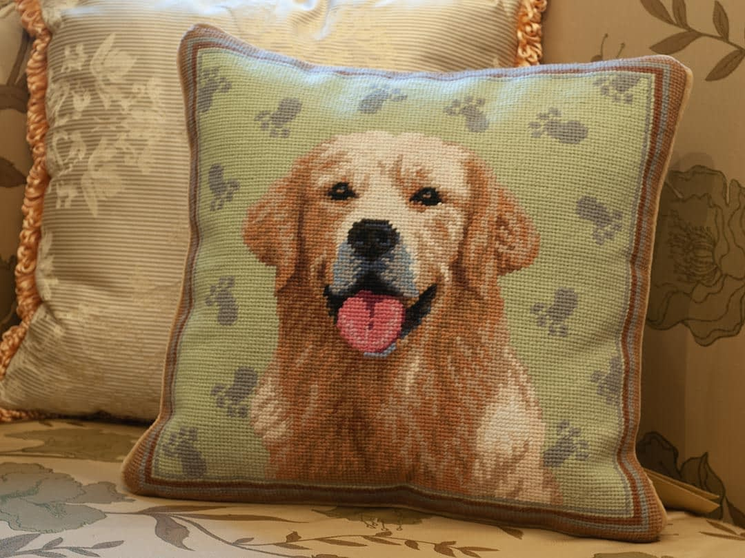 Online Needlepoint Embroidered Dog Pillows