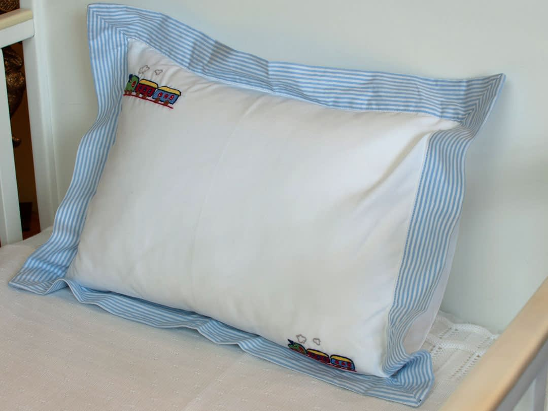 baby pillows and shams blue trains