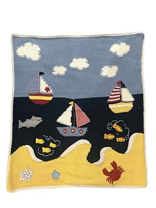 artwalk sailboats hand-knit baby blanket 1501