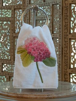 Anali Guest Towels Hydrangea in Pink on White Terry
