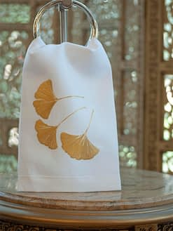 Anali Guest Towels Ginkgo Gold on White Linen