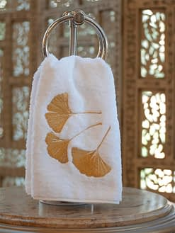 Anali Guest Towels Ginkgo Gold on Terrycloth