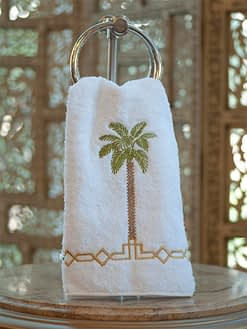Anali Guest Towels Palm on white Roma terry