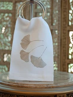 Anali Guest Towels Ginkgo in Silver on White Linen