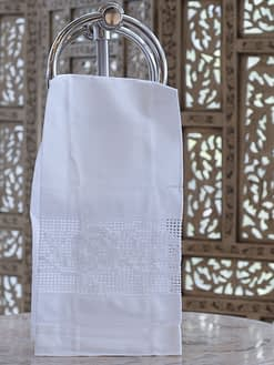 guest towel with hem stitched roses embroidered on linen blend