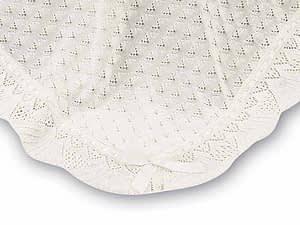sarah louise ivory knit baby shawl blanket with ivory ribbon