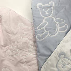 sdh bear baby blankets in pink and white and blue and white 9268