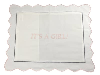embroidered baby pillow sham It's a Girl 1579