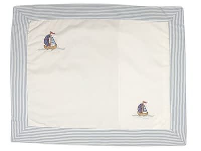 embroidered baby pillow shams blue sailboats