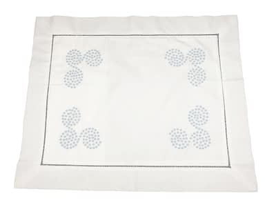 embroidered baby pillow shams with blue polka dot swirls
