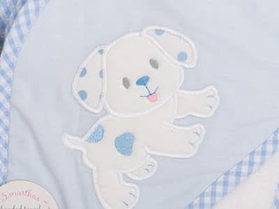 3 marthas hooded towel and washcloth set blue puppy