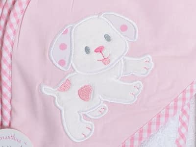 3 marthas hooded towel and washcloth set pink puppy