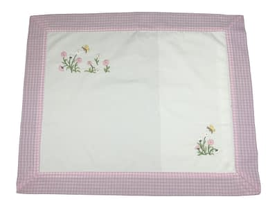 embroidered baby pillow shams pink flowers and bees