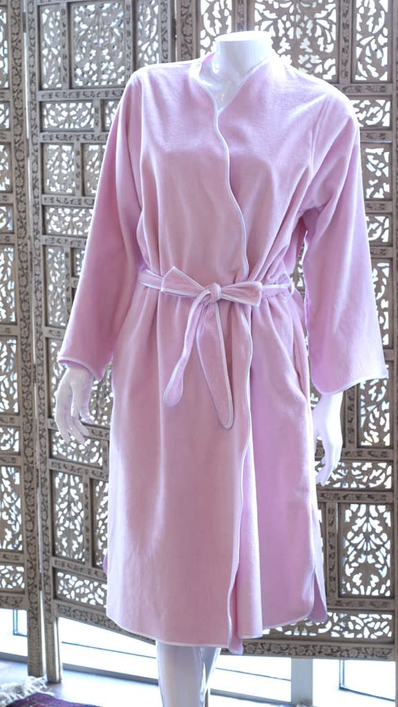 womens knee-length robe in pink with scallop white piping fine cotton terry made in USA buy online sale